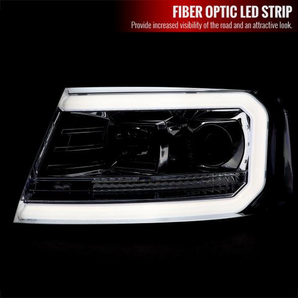 2004-2008 Ford F-150/ 2006-2008 Lincoln Mark LT LED C-Bar Projector Headlights (Chrome Housing/Clear Lens)
