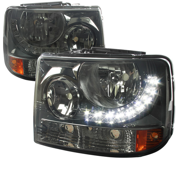 1999-2002 Chevrolet Silverado 1500 2500/ 2000-2006 Tahoe Suburban 1PC Factory Style Headlights w/ SMD LED Light Strip & Bumper Lights (Chrome Housing/Smoke Lens)