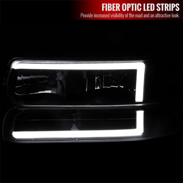 1999-2002 Chevrolet Silverado 1500 2500 / 2000-2006 Tahoe Suburban LED Bar Factory Style Headlights & Bumper Lights with Amber Reflector (Black Housing/Smoke Lens)