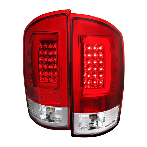 2002-2006 Dodge RAM 1500 2500 3500 LED Tail Lights (Chrome Housing/Red Lens)