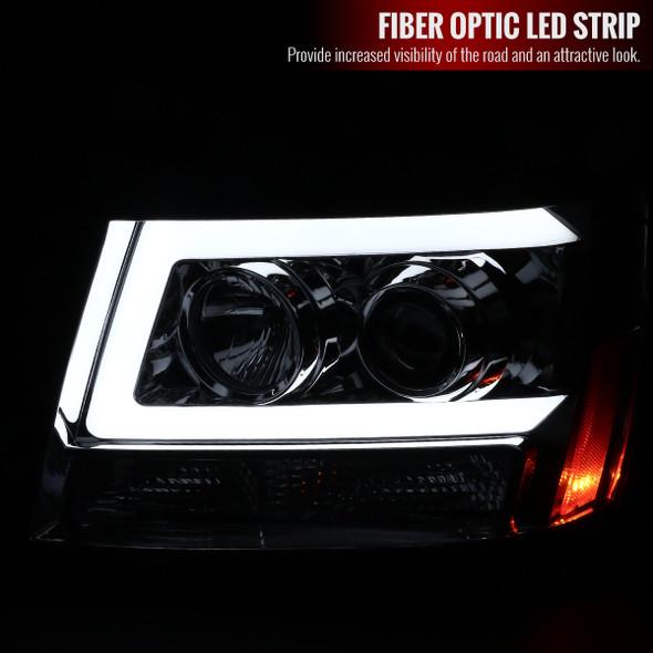 2007-2013 Chevrolet Avalanche/ 2007-2014 Tahoe Suburban LED C-Bar Projector Headlights -RS (Chrome Housing/Clear Lens)