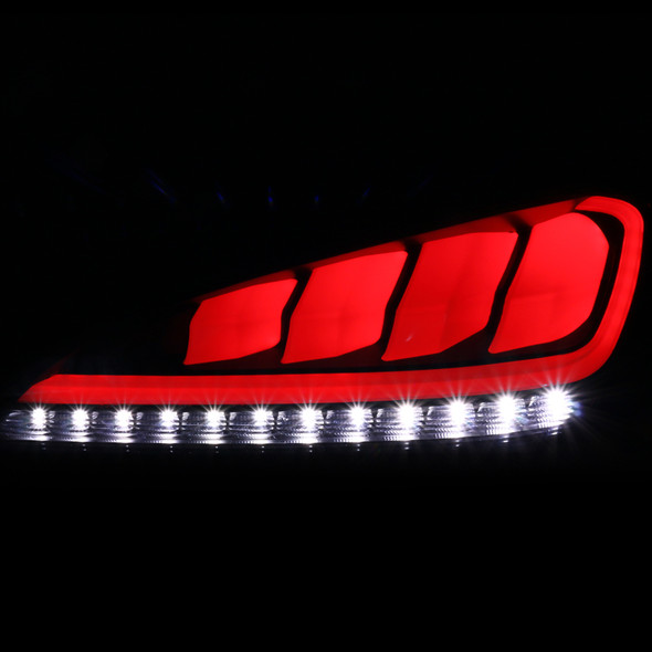 2010-2016 Hyundai Genesis Coupe White Bar Sequential LED Tail Lights (Matte Black Housing/Clear Lens)