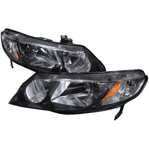 2006-2011 Honda Civic Sedan Crystal Headlights (Matte Black Housing/Clear Lens)
