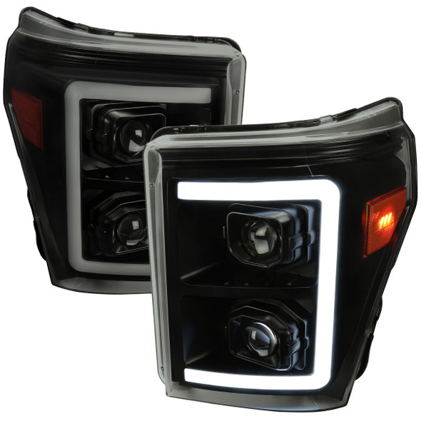 2011-2016 Ford F-250 F-350 F-450 F-550 Switchback Sequential LED C-Bar Projector Headlights (Black Housing/Smoke Lens)