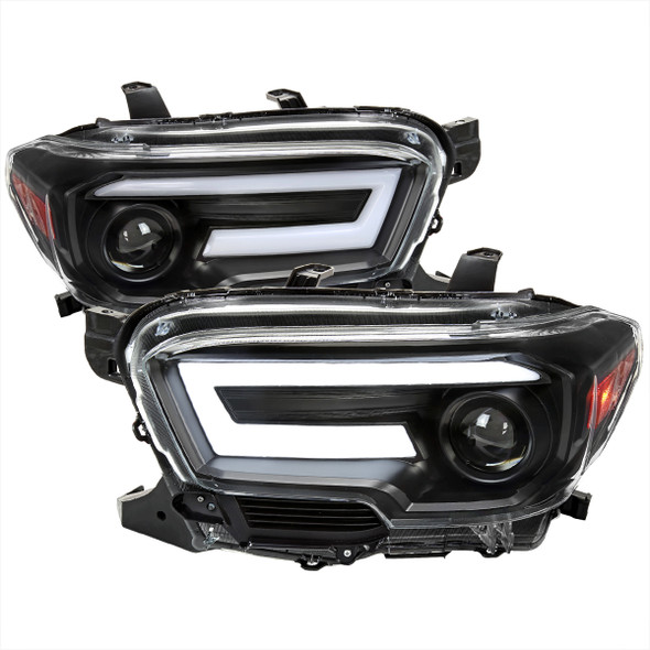 2016-2021 Toyota Tacoma Switchback Sequential LED DRL Bar Projector Headlights (Matte Black Housing/Clear Lens)