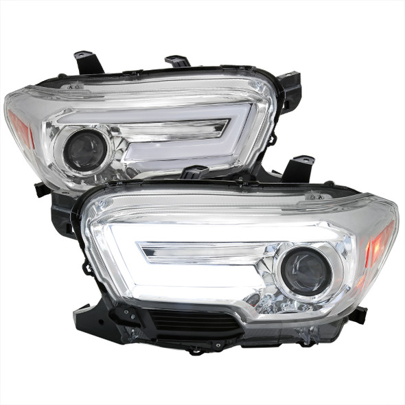 2016-2021 Toyota Tacoma Switchback Sequential LED DRL Bar Projector Headlights (Chrome Housing/Clear Lens)