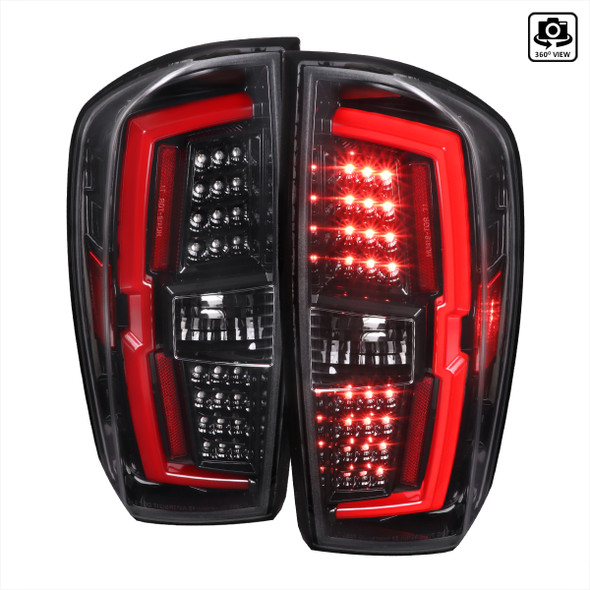 2016-2021 Toyota Tacoma LED Bar Tail Lights (Jet Black Housing/Clear Lens)