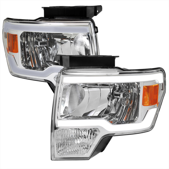2009-2014 Ford F-150 LED Tube Factory Style Headlights (Chrome Housing/Clear Lens)