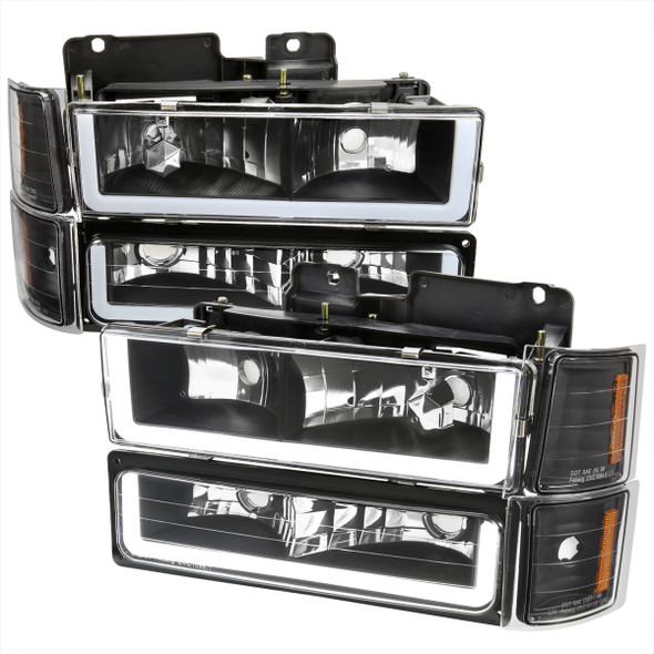 1994-1998 Chevrolet Silverado/Tahoe/Suburban/C10 Factory Style Headlights w/LED Strip and Bumper & Corner Lights (Matte Black Housing/Clear Lens)