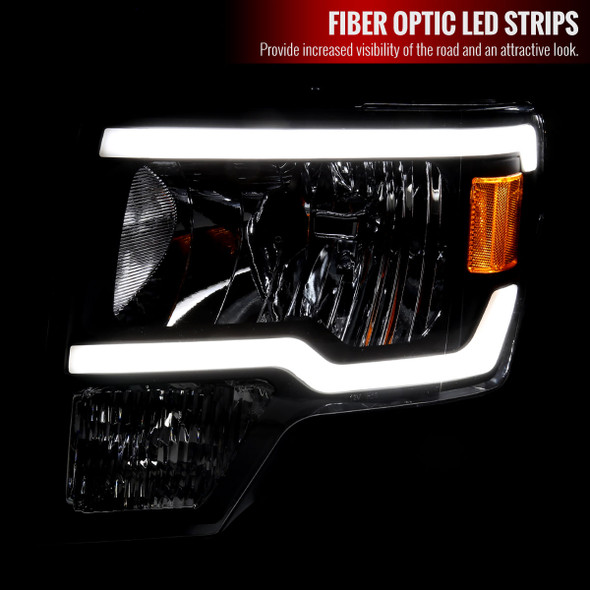 2009-2014 Ford F-150 LED Tube Factory Style Headlights (Matte Black Housing/Clear Lens)
