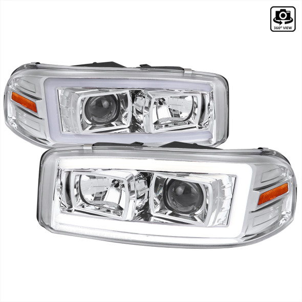 2000-2006 GMC Sierra/Denali/Yukon LED Strip Projector Headlights (Chrome Housing/Clear Lens)