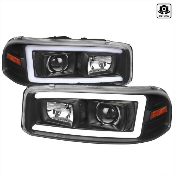 2000-2006 GMC Sierra/Denali/Yukon LED Strip Projector Headlights (Matte Black Housing/Clear Lens)