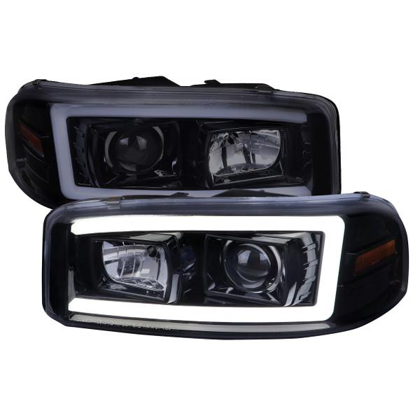 2000-2006 GMC Sierra/Denali/Yukon LED Strip Projector Headlights (Glossy Black Housing/Smoke Lens)