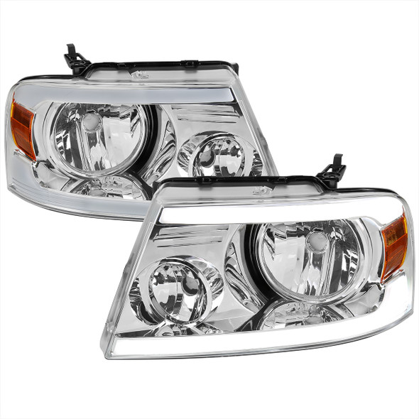 2004-2008 Ford F-150/ 2006-2008 Lincoln Mark LT LED Strip Factory Style Headlights (Chrome Housing/Clear Lens)