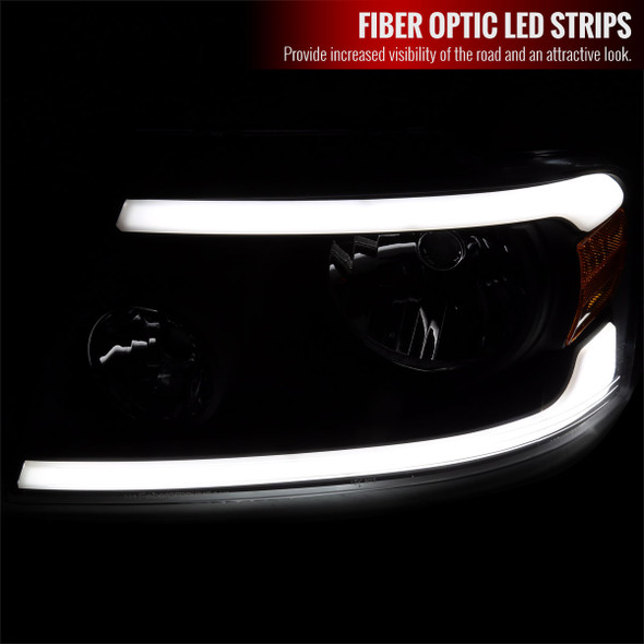 2004-2008 Ford F-150/ 2006-2008 Lincoln Mark LT LED Strip Factory Style Headlights (Matte Black Housing/Clear Lens)