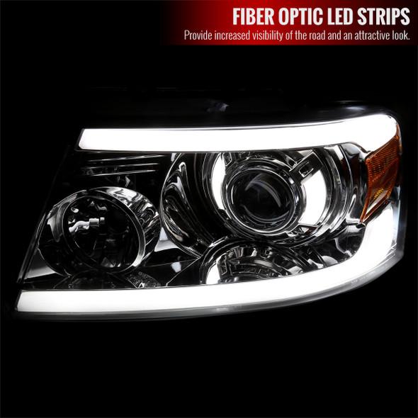 2004-2008 Ford F-150/ 2006-2008 Lincoln Mark LT Projector Style Headlights w/ LED Bar (Chrome Housing/Clear Lens)