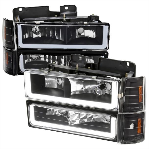 1994-1998 GMC C10/Sierra/Suburban/Yukon Factory Style Headlights w/LED Strip and Bumper & Corner Lights (Matte Black Housing/ Clear Lens)