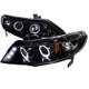 2006-2011 Honda Civic Sedan JDM Style Smoke Lens Dual Halo Projector Headlights w/ LED DRL