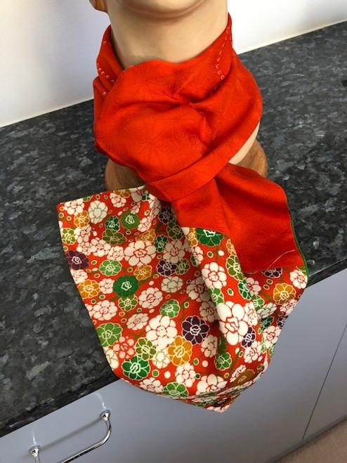 Scarf, Vintage Kimono Orange/Floral by Rae Harvey - HAR.028