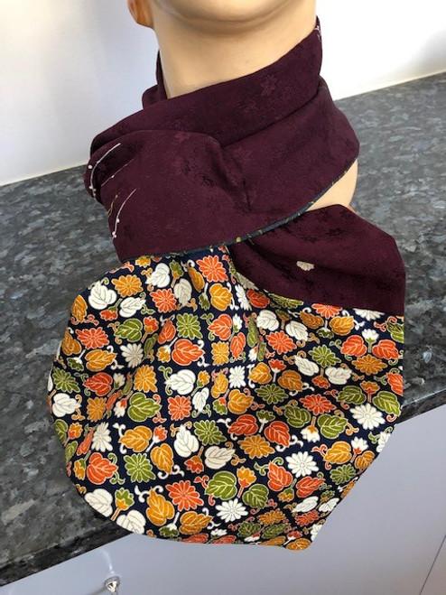 Scarf, Vintage Kimono Aubergine/Leaves by Rae Harvey - HAR.029