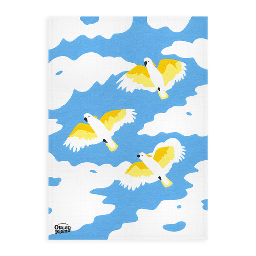 Flying Cockatoo Linen Tea Towel by Outer Island