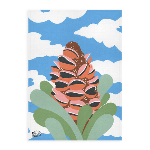 Sunny Banksia Linen Tea Towel by Outer Island