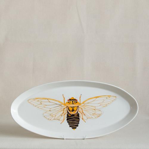 Masked Devil Cicada Long Platter by Casa Adams Fine Wares - CAA.005