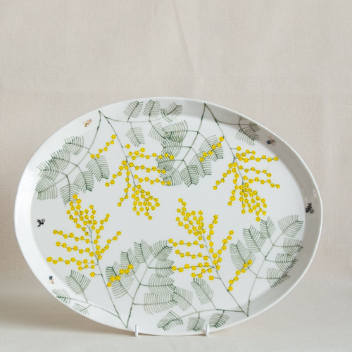 Wattle & Native Bees Large Oval Platter by Casa Adams Fine Wares - CAA.002