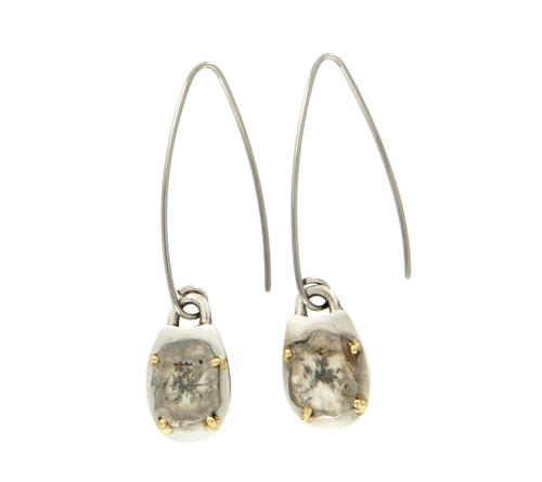Diamond Slices & Sterling Silver Earrings by Michael Hofmeyer - HOM.002