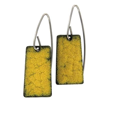 Yellow Opaque Enamel Earrings by Michael Hofmeyer - HOM.008