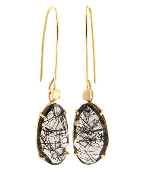 Tourmalated Quartz & 18ct Gold Earrings by Michael Hofmeyer - HOM.010