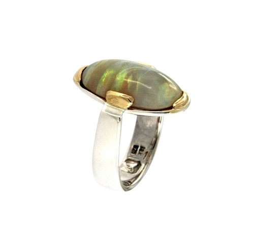 Opal. Sterling Silver & 18ct Gold Ring by Michael Hofmeyer - HOM.025