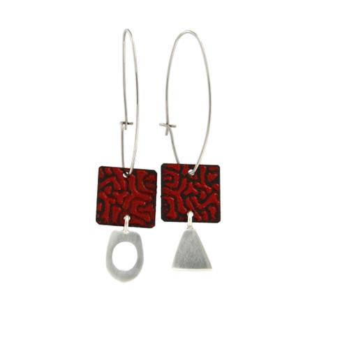 Red Opaque Enamel Earrings by Michael Hofmeyer - HOM.003