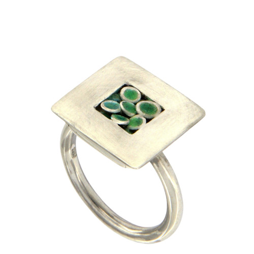 Spring Green Transparent Enamel Ring by Michael Hofmeyer - HOM.021