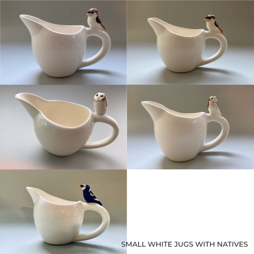 Small White Jug with Native Bird by Barbi Lock Lee - LOB.059 - LOB.070