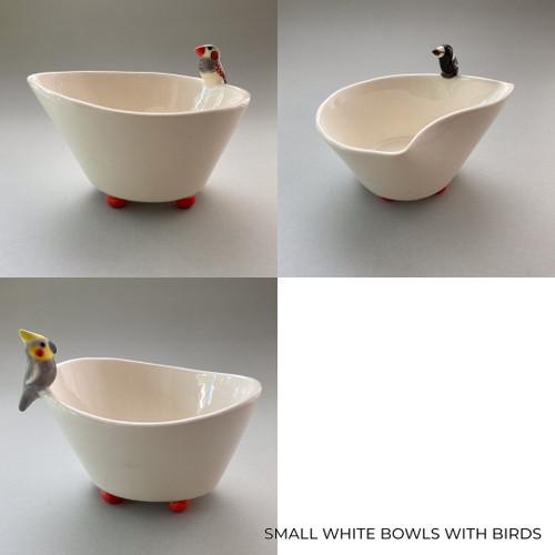 Small White Bowl with Bird by Barbi Lock Lee - LOB.079 - LOB.081