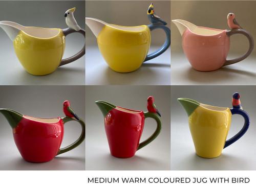 Medium Warm Coloured Jug with Bird by Barbi Lock Lee - LOB.089 - LOB.097
