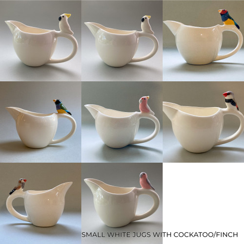 Small White Jug with Cockatoo / Finch by Barbi Lock Lee - LOB.061 - LOB.074