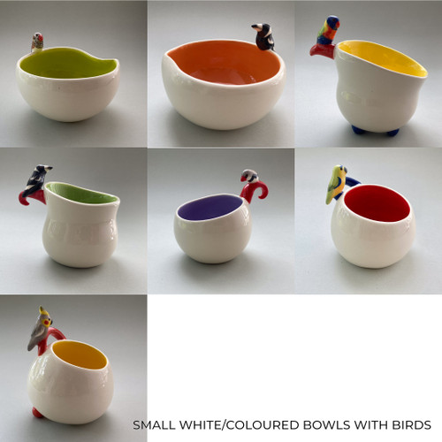Small White / Coloured Bowl with Bird by Barbi Lock Lee - LOB.077 - LOB.086