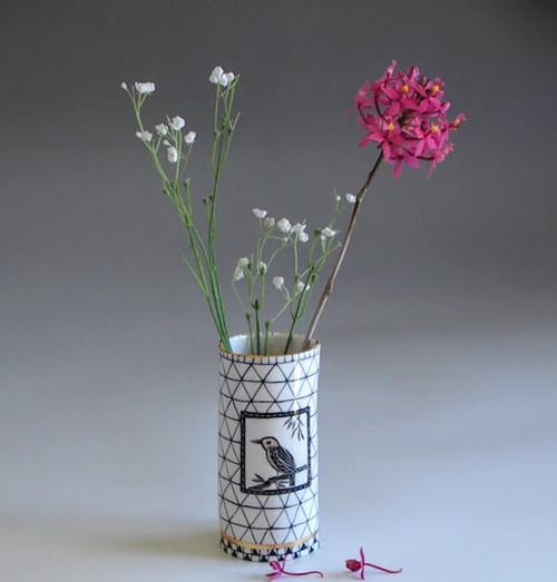 Large Porcelain Vase Bird by Helen Shin - SHH.003