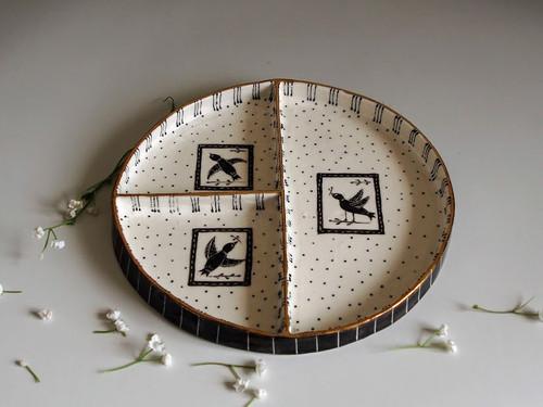 Round Divided Plate Bird by Helen Shin - SHH.005