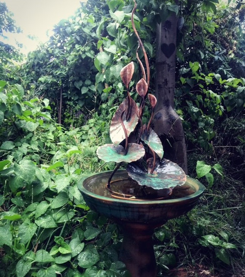 Lily Tower (Calla Lilies & Lotus Leaves) Fountain by Annie Storey - STA.005