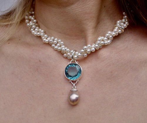 Game of Thrones Inspired Necklace Round Blue Water Drop by Tracy Hopkirk - HOT.006