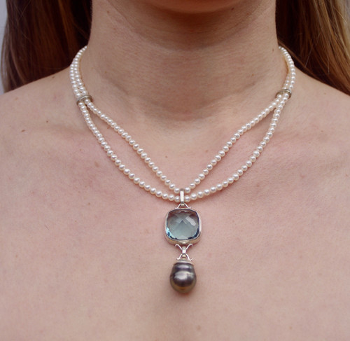 Game of Thrones Inspired Necklace Square Blue Water Drop by Tracy Hopkirk - HOT.007