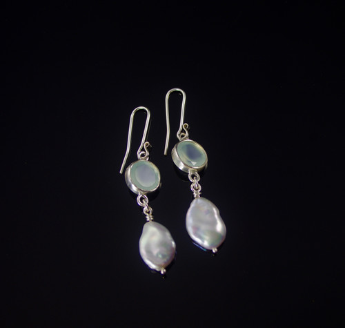 Blue Chalcedony and Pearl Drop Earrings by Tracy Hopkirk - HOT.017