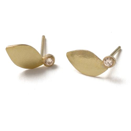 18ct Gold Leaf Studs + Diamonds