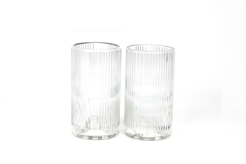 Tumbler Set of 2 Clear Vintage Glass by Upcycled Glassware - UPC.005