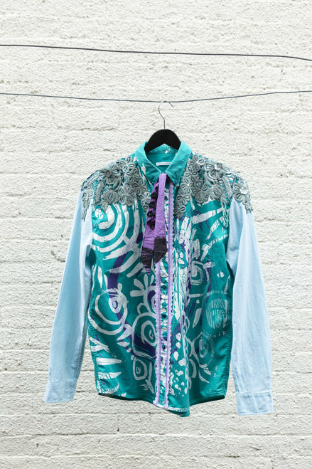 Dark Green Upcycled and Screen Printed Shirt with Floral Neck Applique by Sally Jackson - JAS.002
