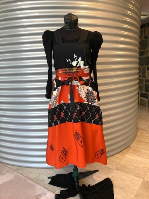 Vintage Kimono Silk Pinafore, Orange / Black by Rae Harvey - HAR.019