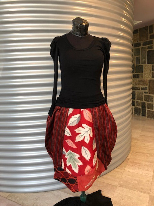 Windflower Skirt, Red with Black Stripes Floral Centre Panel size M/L by Rae Harvey - HAR.006
